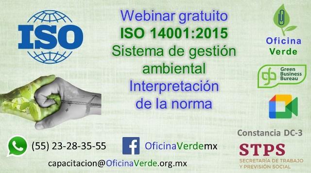 Webinar gratuito. ISO 14001:2015 Sistema de gestión ambiental
